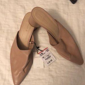 Zara nude heeled mule brand new